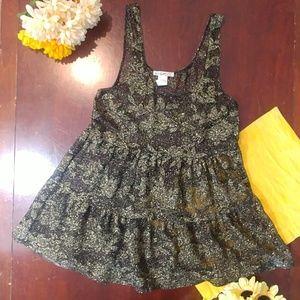 Love Squared Metallic Gold Black Sheer Tunic